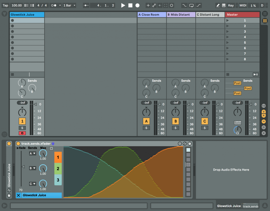 track.sends.xfader used in an instrument track with  the x-fade editor visible.